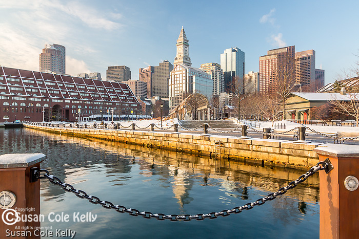 A dusting of snow at Waterfront Park, Boston, Massachusetts, USA