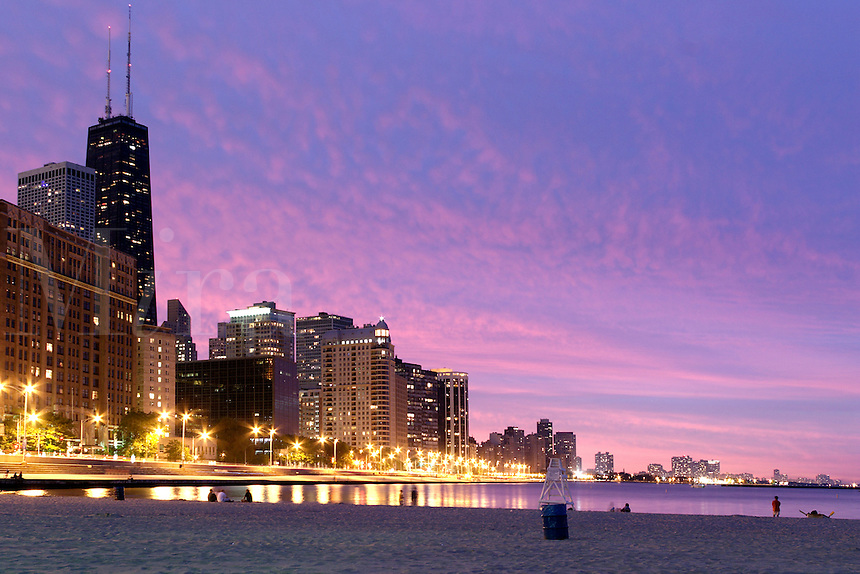 Chicago skyline at dusk from Lake Michigan shoreline, Chicago, Cook County, Illinois, US