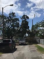 2017 FPL Hurricane Irma damage in Little Haiti Fla. on September 16, 2017.