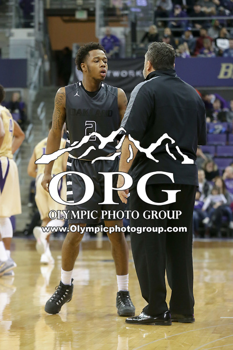 Dec 19, 2015:  Oakland's Nick Daniels against Washington.  Oakland defeated Washington 97-83 at Alaska Airlines Arena in Seattle, WA.