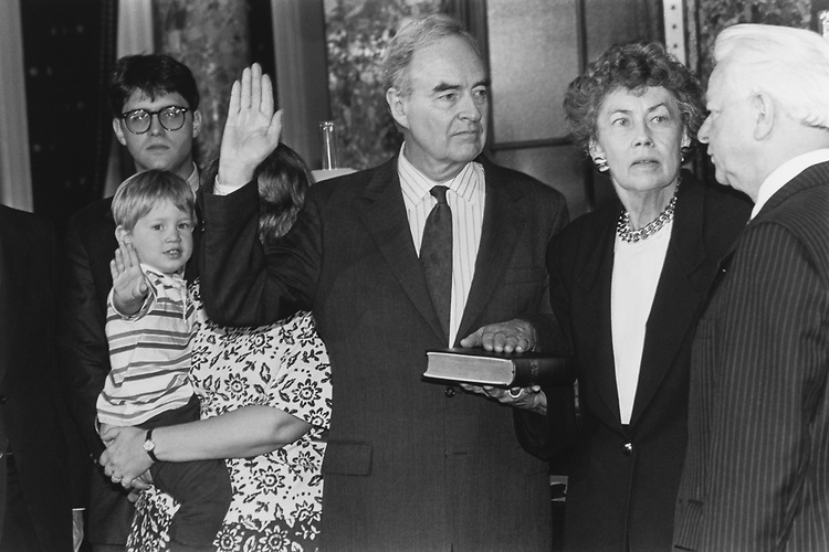 Jacque Lezra (glasses) and Susanne Lezra who's holding Gabriel (age 2 1/2), daughter of Sen. Harris Wofford, D-Pa., appointed Senator, wife Emmy Lov and sworn in by Sen. Robert Byrd, President pro tempore of the United States Senate, May 13, 1991. (Photo by Laura Patterson/CQ Roll Call via Getty Images)