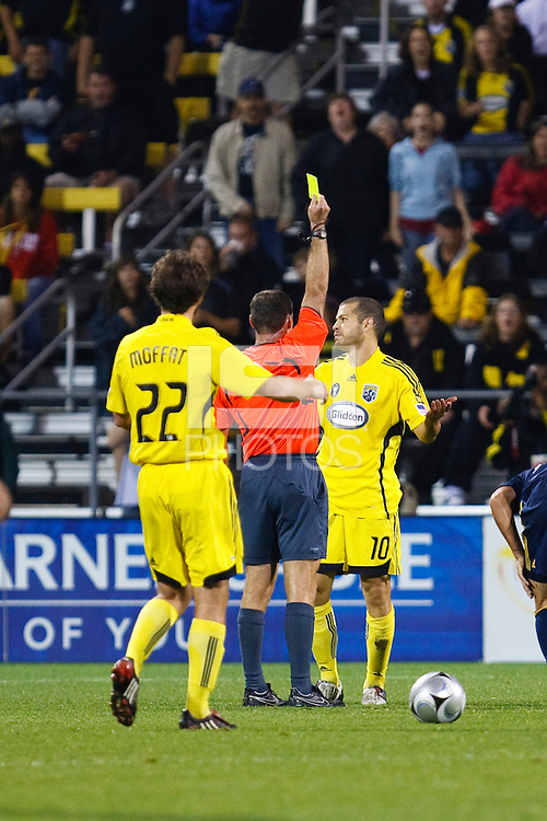26 SEPTEMBAR 2009:  #10 Alejandro Moreno, Columbus Crew forward receives a yellow card in the second half during the Los Angeles Galaxy at Columbus Crew MLS game in Columbus, Ohio on May 27, 2009. Columbus defeated LA 2-0