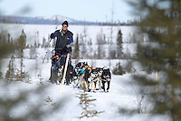 Sonny Lindner on the trail just before the ghost-town checkpoint of Iditarod during the 2011 Iditarod race..