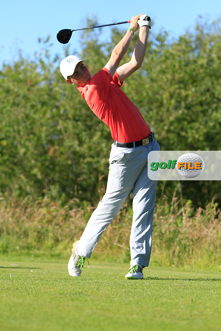 Luke Donnelly (Callan) on the 18th tee during the Ulster Boys' Amateur Open Championship in Clandeboye Golf Club on Tuesday 8th July 2014.<br /> Picture:  Thos Caffrey / www.golffile.ie