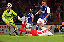 Jordan Burrow of Stevenage bundles home their second goal<br />  Stevenage v Ipswich Town - Capital One Cup First Round - Lamex Stadium, Stevenage - 6th August, 2013<br />  © Kevin Coleman 2013