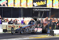 Feb 6, 2015; Pomona, CA, USA; NHRA top fuel driver Dave Connolly during qualifying for the Winternationals at Auto Club Raceway at Pomona. Mandatory Credit: Mark J. Rebilas-USA TODAY Sports