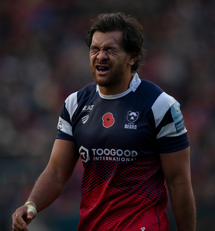 Bristol Bears' Steven Luatua<br /> <br /> Photographer Bob Bradford/CameraSport<br /> <br /> Gallagher Premiership Round 7 - Bristol Bears v Exeter Chiefs - Sunday 18th November 2018 - Ashton Gate - Bristol<br /> <br /> World Copyright © 2018 CameraSport. All rights reserved. 43 Linden Ave. Countesthorpe. Leicester. England. LE8 5PG - Tel: +44 (0) 116 277 4147 - admin@camerasport.com - www.camerasport.com