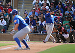 Chicago Cubs' Willson Contreras bats in a spring training game against the Arizona Diamondbacks in Phoenix, AZ, on Thursday, March 23, 2017.<br /> Photo by Cathleen Allison/Nevada Photo Source