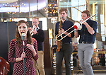 Laura Osnes and cast performs during the 'Bandstand' Broadway cast press presentation at the Rainbow Room on March 7, 2017 in New York City.