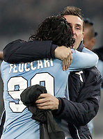 Calcio, semifinale di ritorno di Coppa Italia: Lazio vs Juventus. Roma, stadio Olimpico, 29 gennaio 2013..Lazio forward Sergio Floccari is hugged by teammate Miroslav Klose, right, at the end of the Italy Cup football semifinal return leg match between Lazio and Juventus at Rome's Olympic stadium, 29 January 2013..UPDATE IMAGES PRESS/Riccardo De Luca