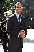 Prince Felipe de Borbon y Grecia of Spain arrives at Georgetown University to participate in a signing ceremony to announce a 1.5 million dollar gift to establish The Prince of Asturias Visiting Professorship in Spanish Studies in Washington, DC, March 23, 1999..Credit: Ron Sachs / CNP