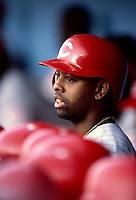 Willie Greene of the Cincinnati Reds participates in a Major League Baseball game at Dodger Stadium during the 1998 season in Los Angeles, California. (Larry Goren/Four Seam Images)