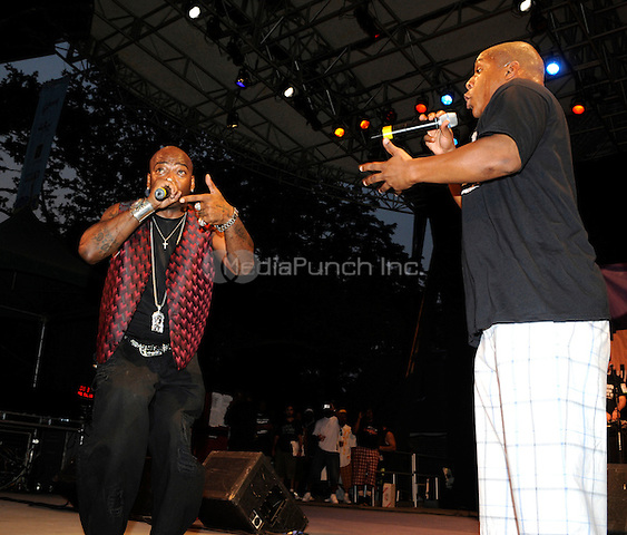 Naughty By Nature (Treach and Vinnie, from left to right) performing live at the Video Music Box 25th Anniversary Concert at Central Park Summerstage in New York City on July 18, 2008. © David Atlas / MediaPunch