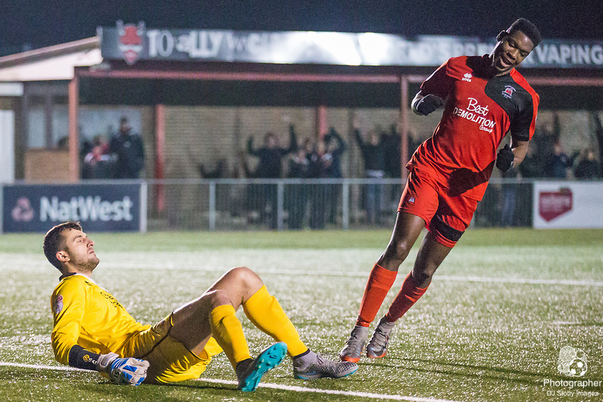Yusef Mersin(GK) (Crawley) & Shaun Okojie (Eastbourne) following the goal by Gavin McCallum (Eastbourne) during Parafix Sussex Senior Cup Quarter Final between Eastbourne Borough FC & Crawley Town FC on Tuesday 09 January 2018 at Priory Lane. Photo by Jane Stokes (DJ Stotty Images)