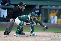 Catcher Scott Combs (35) of the Michigan State Spartans works a game against the Merrimack Warriors on Saturday, February 22, 2020, at Fluor Field at the West End in Greenville, South Carolina. Merrimack won, 7-5. (Tom Priddy/Four Seam Images)