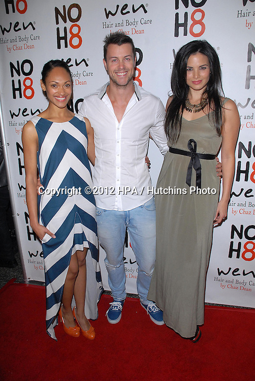 LOS ANGELES - DEC 12:  Lesley-Ann Brandt, Daniel Feuerriegel, Katrina Law arrives to the NOH8 4th Anniversary Party at Avalon on December 12, 2012 in Los Angeles, CA