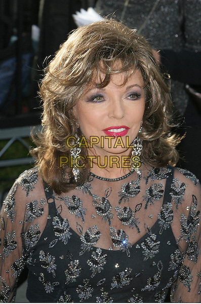JOAN COLLINS.2006 Vanity Fair Oscar Party held at Morton's, .West Hollywood, California, USA, .05 March 2006..portarit headshot oscars black lace beaded sheer dress see through earrrings.Ref: ADM/CH.www.capitalpictures.com.sales@capitalpictures.com.©Charles Harris/AdMedia/Capital Pictures.