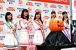 """October 11, 2017, Tokyo, Japan -  Japanese girls  pop group Momoiro Clover Z members attend a promotional event for the five hundreds million yen """"Halloween Jumbo Lottery"""" as the first tickets go on sale in Tokyo on Wednesday, Octoebr 11, 2017. Thousands of punters queued up for tickets in the hope of becoming a millionaire.      (Photo by Yoshio Tsunoda/AFLO) LWX -ytd-"""