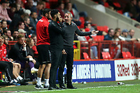 Charlton Athletic manager Lee Bowyer talks to the fourth official during Charlton Athletic vs Forest Green Rovers, Caraboa Cup Football at The Valley on 13th August 2019