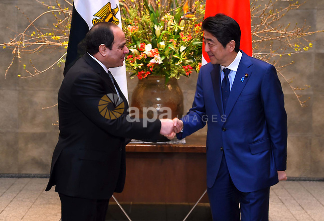 Egyptian President Abdel Fattah al-Sisi meets with Japanese Prime Minister Shinzo Abe at Abe's official residence in Tokyo, Japan, 29 February 2016. Egyptian President Abdel Fattah al-Sisi is currently on a four-day visit to Japan. Photo by Egyptian President Office