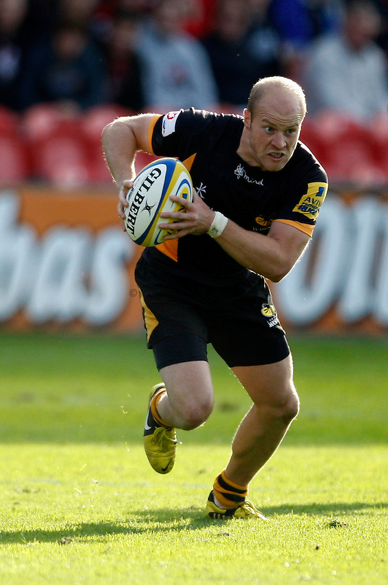 Photo: Richard Lane/Richard Lane Photography. Gloucester Rugby v London Wasps. Aviva Premiership. 22/09/2012. Wasps' Joe Simpson attacks.