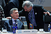 "Mauricio Macri, Argentina's president, left, waits to begin an opening plenary entitled ""National Actions to Enhance Nuclear Security"" at the Nuclear Security Summit in Washington, D.C., U.S., on Friday, April 1, 2016. After a spate of terrorist attacks from Europe to Africa, U.S. President Barack Obama is rallying international support during the summit for an effort to keep Islamic State and similar groups from obtaining nuclear material and other weapons of mass destruction. <br /> Credit: Andrew Harrer / Pool via CNP"