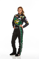 Feb 10, 2016; Pomona, CA, USA; NHRA top fuel driver Leah Pritchett poses for a portrait during media day at Auto Club Raceway at Pomona. Mandatory Credit: Mark J. Rebilas-USA TODAY Sports