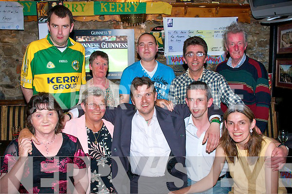 2302-2306.Party Fun: Paddy Cahill, Spa Road, Tralee (seated centre) who celebrated his 30th birthday bash surrounded by family in the Greyhound bar, Pembroke St., Tralee last Friday night, front l-r: Doreen Buckley, Margaret, Paddy, Seamus and Nora Cahill. Back l-r: Shane O'Sullivan, Margaret Lacey, Darron O'Connor, Mike Nagle and Tom Maloney.