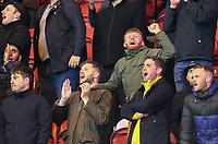 Preston North End fans cheer their side on<br /> <br /> Photographer Alex Dodd/CameraSport<br /> <br /> The EFL Sky Bet Championship - Middlesbrough v Preston North End - Tuesday 1st October 2019  - Riverside Stadium - Middlesbrough<br /> <br /> World Copyright © 2019 CameraSport. All rights reserved. 43 Linden Ave. Countesthorpe. Leicester. England. LE8 5PG - Tel: +44 (0) 116 277 4147 - admin@camerasport.com - www.camerasport.com