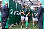 01.09.2019, wohninvest Weserstadion, Bremen, GER, 1.FBL, Werder Bremen vs FC Augsburg, <br /> <br /> DFL REGULATIONS PROHIBIT ANY USE OF PHOTOGRAPHS AS IMAGE SEQUENCES AND/OR QUASI-VIDEO.<br /> <br />  im Bild<br /> <br /> Spieler kommen vor dem Spiel zum warm machen aus dem Spielertunnel<br /> Claudio Pizarro (Werder Bremen #14)<br /> Niclas Füllkrug / Fuellkrug (Werder Bremen #11)<br /> <br /> Foto © nordphoto / Kokenge
