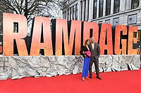 """Naomie Harris and Dwayne Johnson<br /> arriving for the """"Rampage"""" premiere at the Cineworld Empire Leicester Square, London<br /> <br /> ©Ash Knotek  D3395  11/04/2018"""
