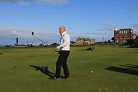 Gerry McIlroy (AM) playing with Rory McIlroy (NIR) on the 18th tee during Round 3 of the Alfred Dunhill Links Championship 2019 at St. Andrews Golf CLub, Fife, Scotland. 28/09/2019.<br /> Picture Thos Caffrey / Golffile.ie<br /> <br /> All photo usage must carry mandatory copyright credit (© Golffile | Thos Caffrey)