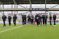 Morecambe players inspecting the pitch ahead of the Sky Bet League 2 match between Northampton Town and Morecambe at Sixfields Stadium, Northampton, England on 23 January 2016. Photo by David Horn / PRiME Media Images.