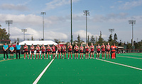 STANFORD, CA - November3, 2011:Team introductions before the Stanford vs. Appalachian State opener of  the  NorPac Championship at the Varsity Turf on the Stanford campus Thursday afternoon.<br /> <br /> Stanford defeated Appalachian State 7-0.
