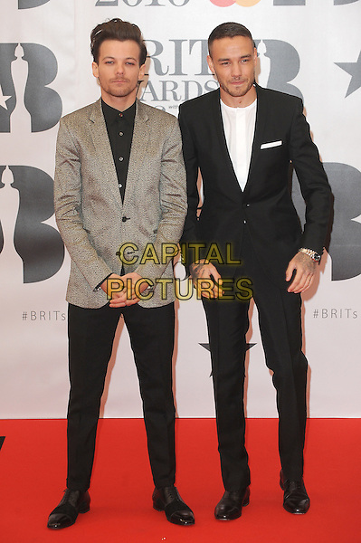 LONDON, ENGLAND - FEBRUARY 24: Louis Tomlinson and Liam Payne attend the Brit Awards 2016 at The O2 Arena in London on February 24, 2016 in London, England.<br /> CAP/BEL<br /> &copy;Tom Belcher/Capital Pictures