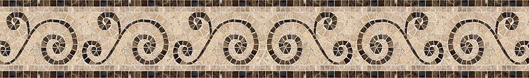 "6"" Tulle border, a hand-cut stone mosaic, shown in polished Breccia Oniciata, Emperador Dark, and honed Fontenay Claire."