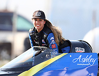 Sep 3, 2017; Clermont, IN, USA; NHRA top fuel driver Ashley Sanford during qualifying for the US Nationals at Lucas Oil Raceway. Mandatory Credit: Mark J. Rebilas-USA TODAY Sports