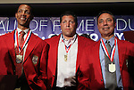 30 May 2012: 2012 Inductees (from left) Desmond Armstrong, Tony Meola, and Tony DiCicco. The 2012 National Soccer Hall of Fame Induction Ceremony was held at Fedex Field in Landover, Maryland before a men's international friendly soccer match between the United States and Brazil.