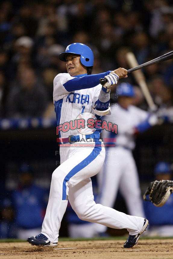 Jong-Beom Lee of Korea during the World Baseball Championships at Petco Park in San Diego,California on March 15, 2006. Photo by Larry Goren/Four Seam Images