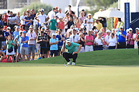 Peter Uihlein (USA) on the 18th green during Round 4 of the DP World Tour Championship 2017, at Jumeirah Golf Estates, Dubai, United Arab Emirates. 19/11/2017<br /> Picture: Golffile | Thos Caffrey<br /> <br /> <br /> All photo usage must carry mandatory copyright credit     (© Golffile | Thos Caffrey)