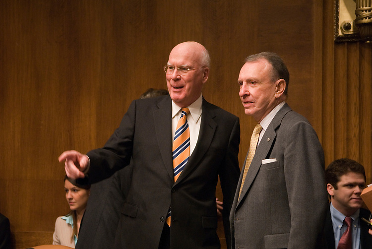 "Patrick Leahy,D-VT.,  and Arlen Specter,R-PA.,  during a full committee hearing on ""Paying Off Generics to Prevent Competition with Brand Name Drugs."