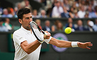Novak Djokovic (2) of Serbia in action against Adrian Mannarino of France in their Men's Singles Fourth Round Match today<br /> <br /> Photographer Ashley Western/CameraSport<br /> <br /> Wimbledon Lawn Tennis Championships - Day 8 - Tuesday 11th July 2017 -  All England Lawn Tennis and Croquet Club - Wimbledon - London - England<br /> <br /> World Copyright &not;&copy; 2017 CameraSport. All rights reserved. 43 Linden Ave. Countesthorpe. Leicester. England. LE8 5PG - Tel: +44 (0) 116 277 4147 - admin@camerasport.com - www.camerasport.com