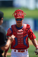 Clearwater Threshers catcher Chace Numata (50) during a game against the Charlotte Stone Crabs on April 13, 2016 at Bright House Field in Clearwater, Florida.  Charlotte defeated Clearwater 1-0.  (Mike Janes/Four Seam Images)