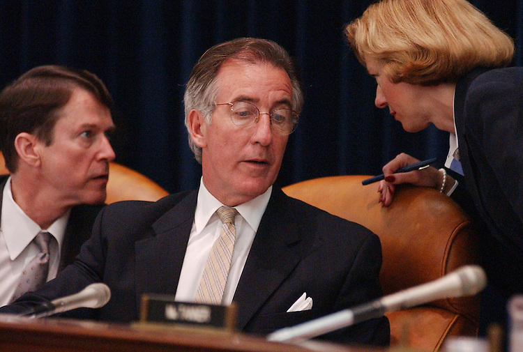 neal11/062502 -  Rep. Richard Neal, D-Mass., talks to tax council Mellissa Mueller and Rep. Michael McNulty, D-N.Y., after testifying at a Select Revenue Subcomittee Hearing of the Ways and Means Committee.