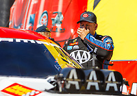 Apr 23, 2017; Baytown, TX, USA; NHRA funny car driver Robert Hight reacts after hitting the center line timing blocks during the final round of the Springnationals at Royal Purple Raceway. Mandatory Credit: Mark J. Rebilas-USA TODAY Sports