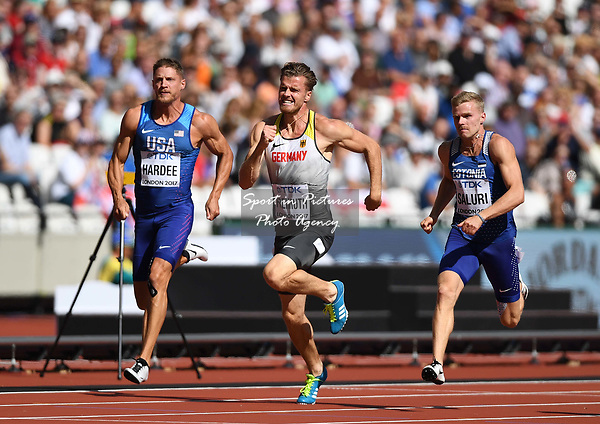 (l to r) Trey HARDEE (USA), Rico FREIMUTH (GER) and Karl Robert SALURI (EST) in the mens decathlon 100m. IAAF world athletics championships. London Olympic stadium. Queen Elizabeth Olympic park. Stratford. London. UK. 11/08/2017. ~ MANDATORY CREDIT Garry Bowden/SIPPA - NO UNAUTHORISED USE - +44 7837 394578