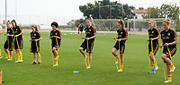 20180306 - LARNACA , CYPRUS :  Belgian team with Laura Deloose , Laura De Neve , Davina Philtjens , Kassandra Missipo , Heleen Jaques , Tessa Wullaert , Janice Cayman and Maud Coutereels pictured during a Matchday -1 training from The Belgian Red Flames prior to their game against South Africa , on tuesday 6 March 2018 at the Alpha Sports Grounds in Larnaca , Cyprus . This will be the final game for Belgium during the Cyprus Womens Cup for a battle for the 5th place , a prestigious women soccer tournament as a preparation on the World Cup 2019 qualification duels. PHOTO SPORTPIX.BE | DAVID CATRY