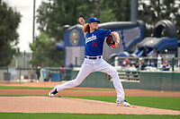 Rancho Cucamonga Quakes Dustin May (36) between innings of the game against the Visalia Rawhide at LoanMart Field on May 14, 2018 in Rancho Cucamonga, California. The Rawhide defeated the Quakes 5-0.  (Donn Parris/Four Seam Images)