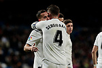 Real Madrid's Lucas Vazquez (L) and Sergio Ramos (R) celebrate goal during Copa Del Rey match between Real Madrid and CD Leganes at Santiago Bernabeu Stadium in Madrid, Spain. January 09, 2019. (ALTERPHOTOS/A. Perez Meca)