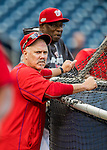 13 October 2016: Washington Nationals Hitting Coach Rick Schu watches batting practice prior to Game 5 of the NLDS against the Los Angeles Dodgers at Nationals Park in Washington, DC. The Dodgers edged out the Nationals 4-3, to take Game 5 of the Series, 3 games to 2, and move on to the National League Championship Series against the Chicago Cubs. Mandatory Credit: Ed Wolfstein Photo *** RAW (NEF) Image File Available ***